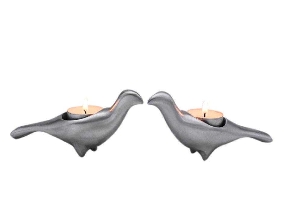 Wild Dove Shaped Shraga Landesman Shabbat Candlesticks