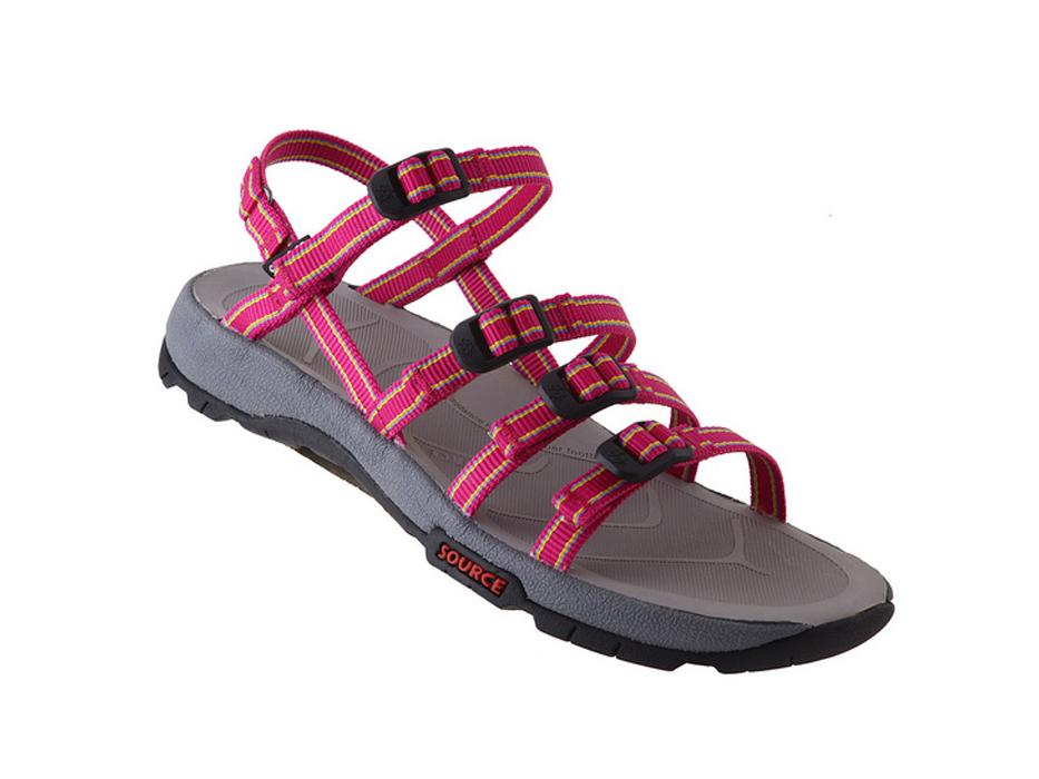 Womens Source Sandal Capra II Multi-Strap, Purple-Fuschia