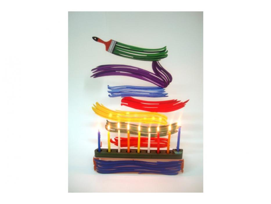 David Gerstein Paintbrush Hanukkah Menorah