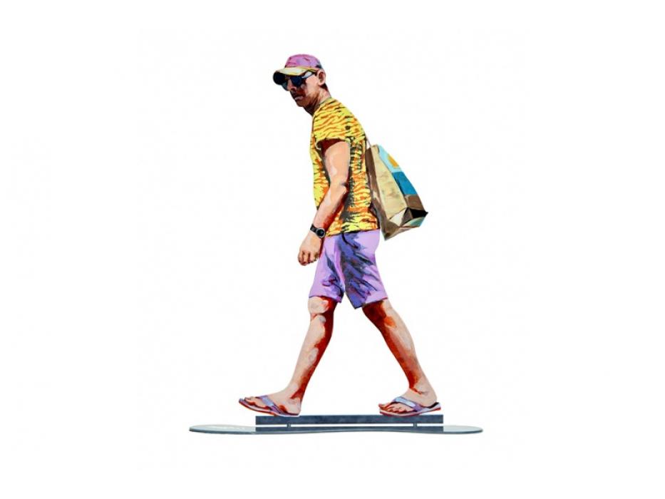 David Gerstein Sculpture Walker With Baseball Cap