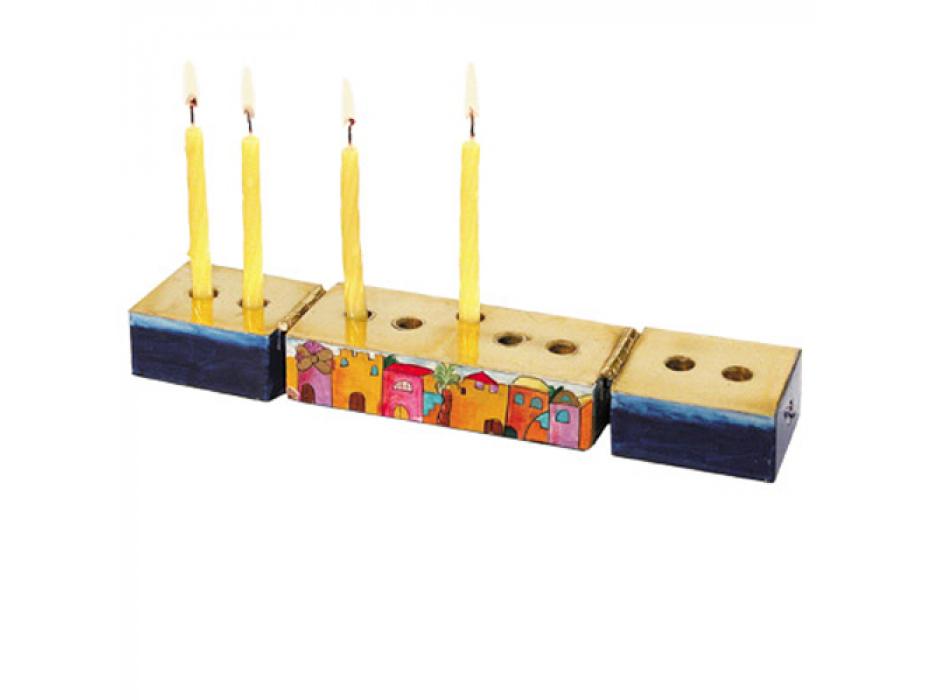 Jerusalem 2 in 1 Hanukkah Menorah and Shabbat Candles set - menorah