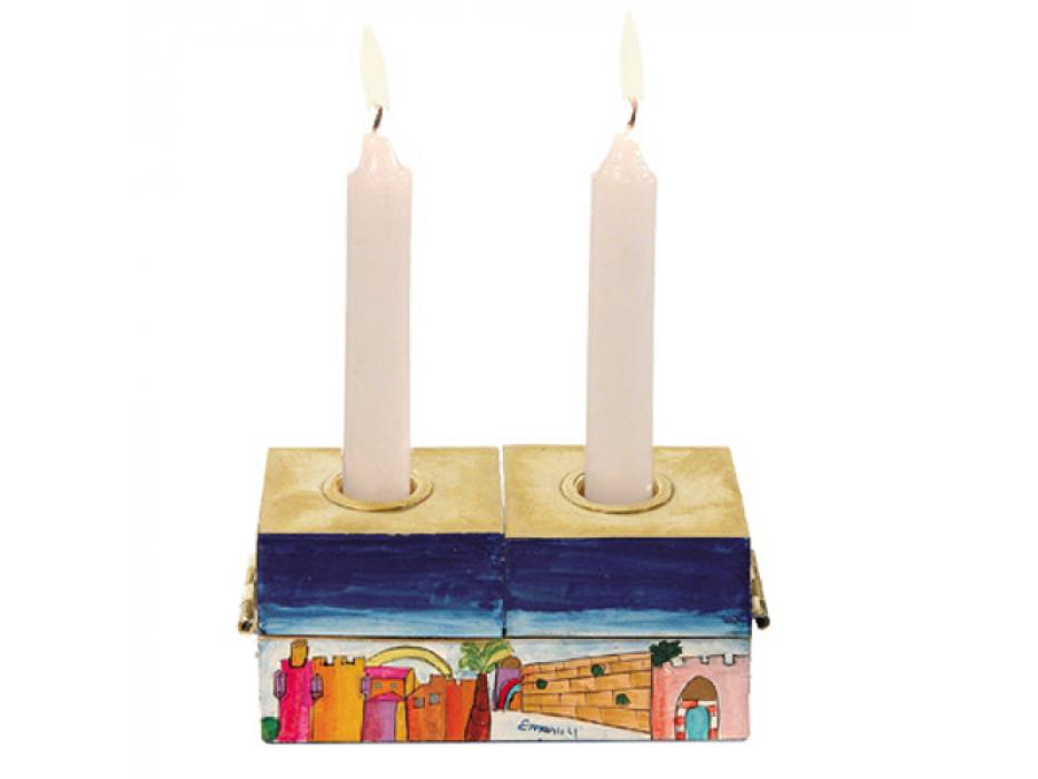 Jerusalem 2 in 1 Hanukkah Menorah and Shabbat Candles set - Shabbat Candles
