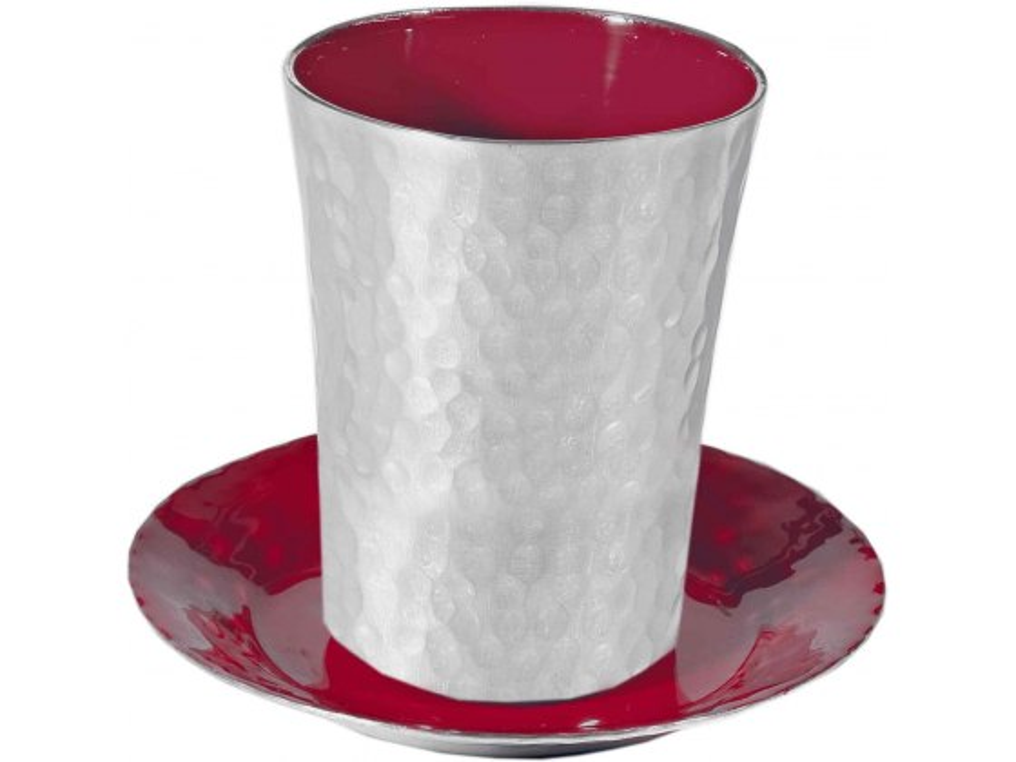 Yair Emanuel Aluminum Kiddush Cup with Burgundy Enamel