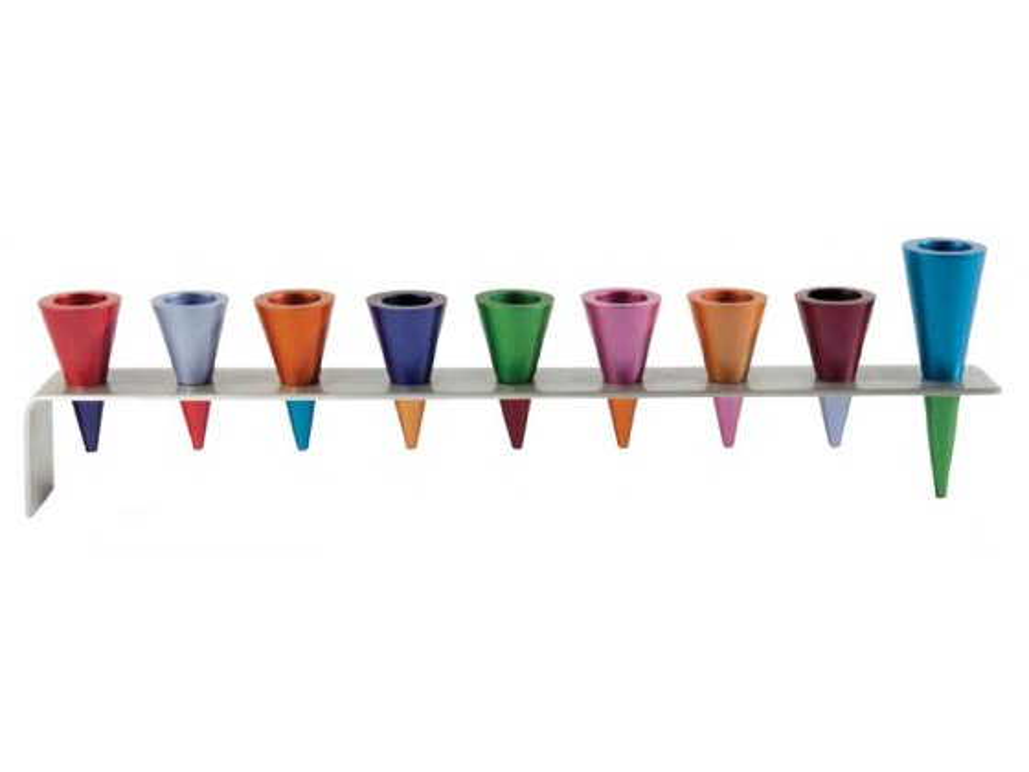 Yair Emanuel Anodized Aluminium Cones, Hanukkah Menorah (3 colors available)