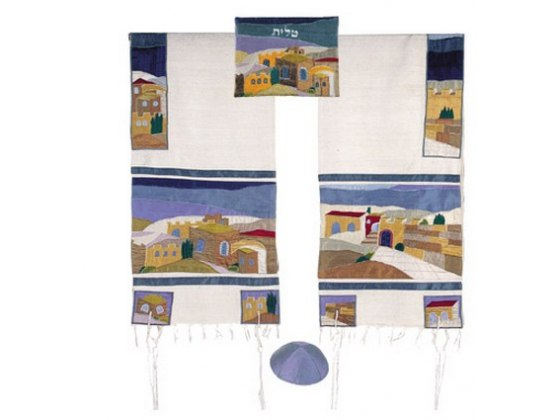 Yair Emanuel Embroidered Jerusalem, Raw Silk Tallit Prayer Shawl