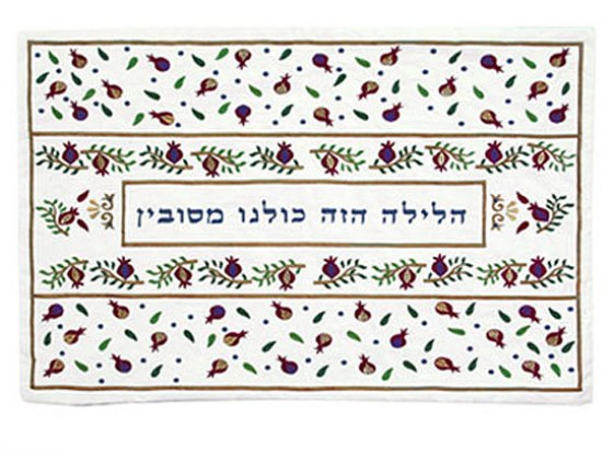 Yair Emanuel Embroidered Seder Pillow Cover - Pomegranates