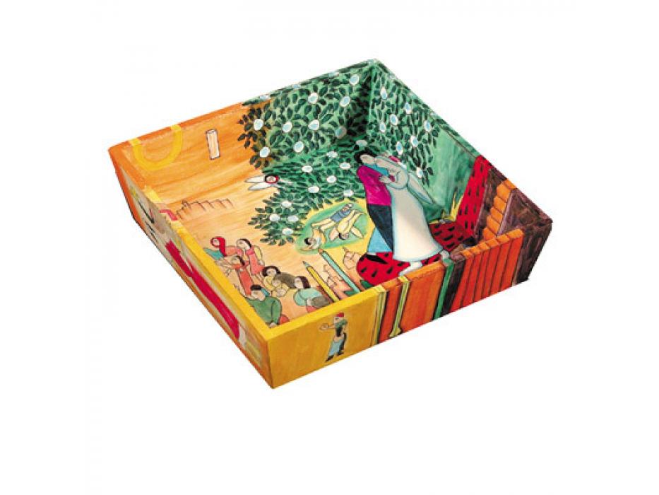 Yair Emanuel Hand Painted Figures Oriental motif on Wood, Matzah Plate