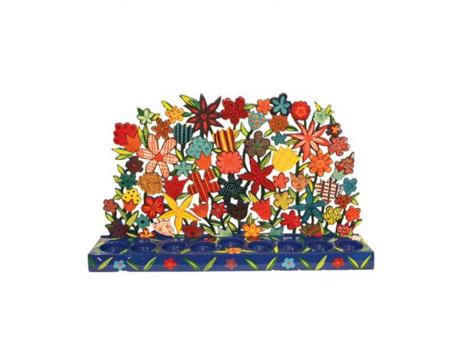Yair Emanuel Hand-Painted Laser Cut Flowers, Hanukkah Menorah