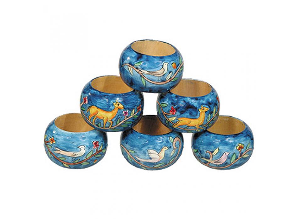 Yair Emanuel Hand Painted Wood Napkin Ring Set (6)