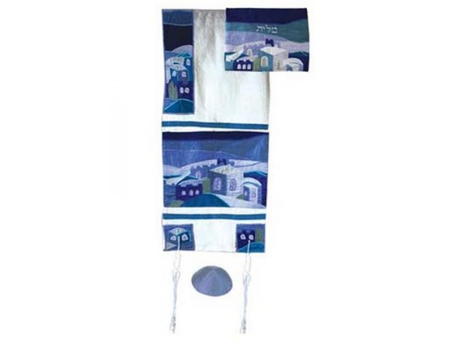 Yair Emanuel Jerusalem in Blue, Raw Silk Tallit Prayer Shawl