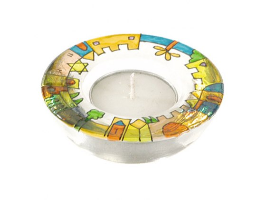 Yair Emanuel Jerusalem Glass Tealight Candlesticks