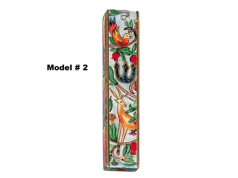 Yair Emanuel Large Handpainted Wooden Mezuzah