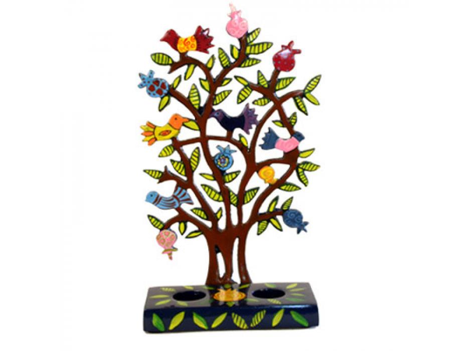 Yair Emanuel Lazer Cut Candlesticks Pink Pomegranate Tree