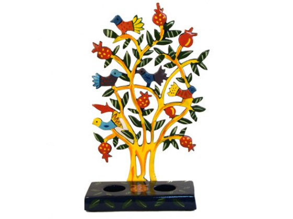 Yair Emanuel Lazer Cut Candlesticks Pomegranate Tree