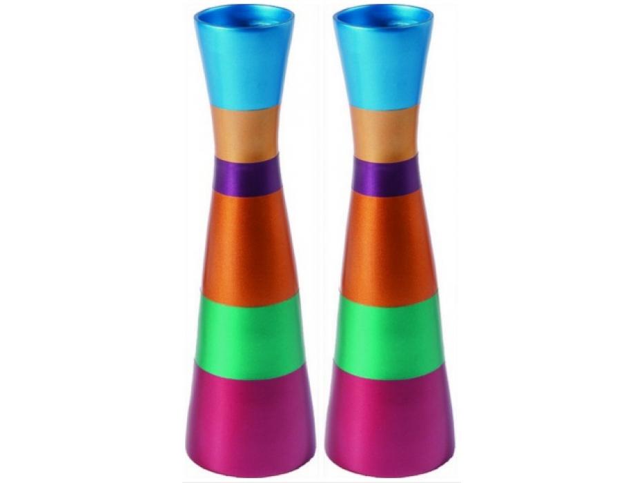 Yair Emanuel Long Colorful Aluminium Shabbat Candlesticks