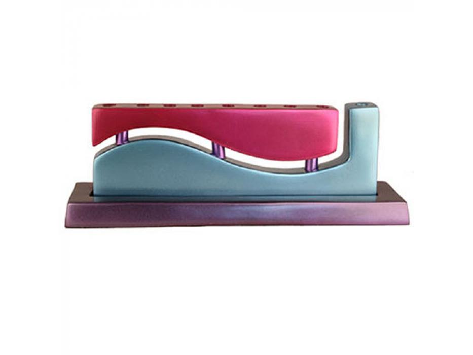 Wave Hanukkah Menorah - Magenta-SeaBlue-Violet