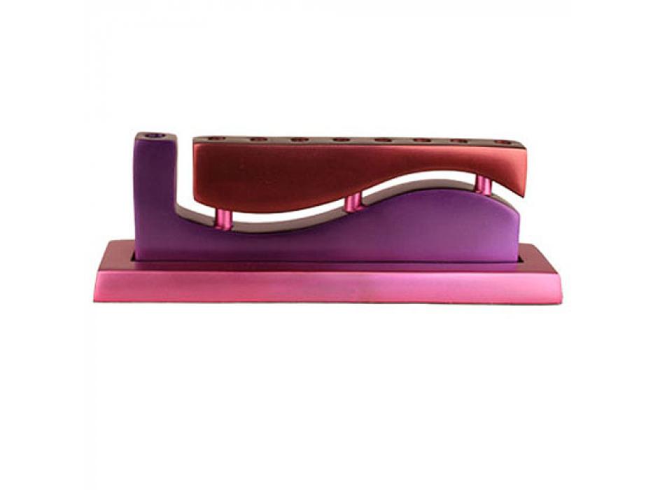 Wave Hanukkah Menorah - Red-Purple-Fushia