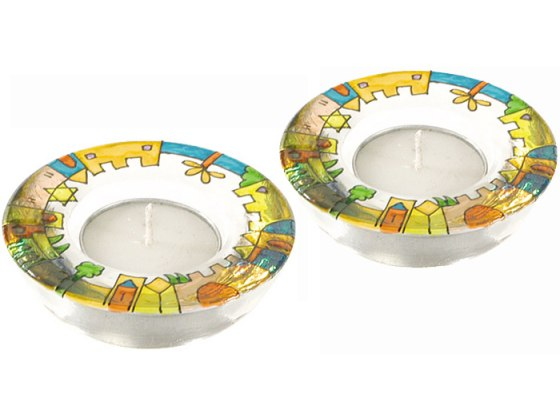 Yair Emanuel Painted Glass Tealight Candlestick Set