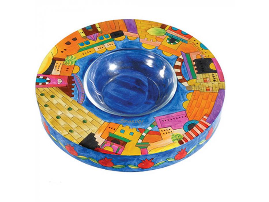 Yair Emanuel Painted Wood & Glass Honey Dish