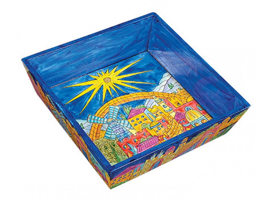 Yair Emanuel Painted Wood Passover Matzah Tray - Jerusalem Old City