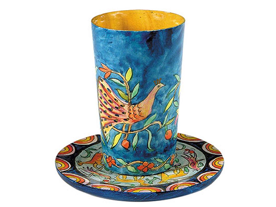Yair Emanuel Painted Wood Kiddush Cup & Saucer - Oriental