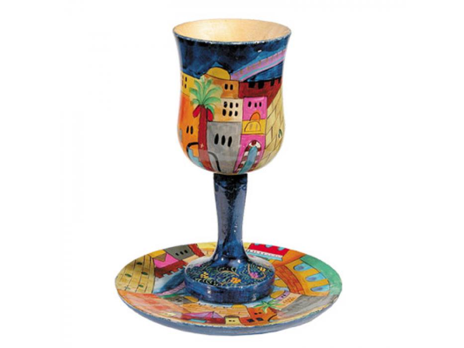 Yair Emanuel Painted Wood Kiddush Goblet & Saucer - Jerusalem