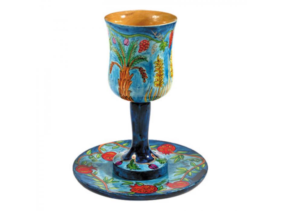 Yair Emanuel Painted Wood Kiddush Goblet & Saucer - Seven Species