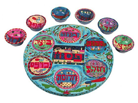 Yair Emanuel Painted Wood Passover Seder Plate with Matching Bowls - Oriental