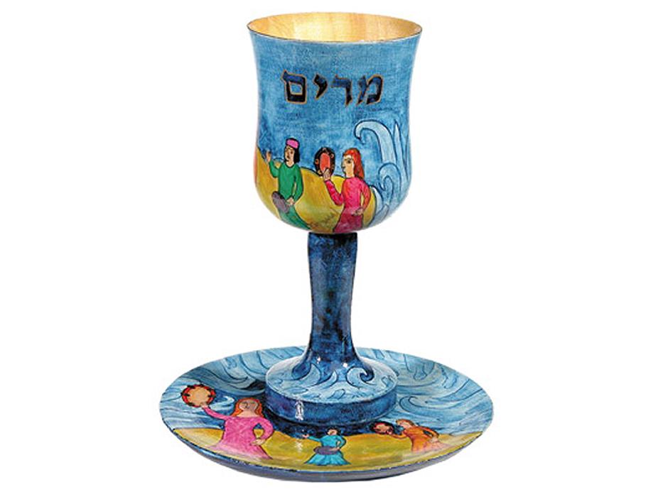 Emanuel Painted Wood Miriam Cup & Saucer - Shirat Miriam (Miriams Song)