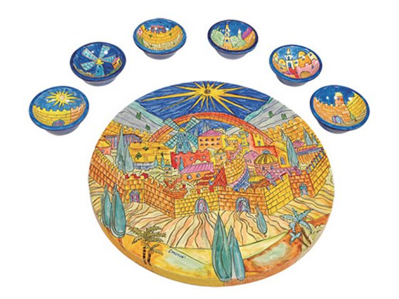 Yair Emanuel Painted Wood Passover Seder Plate with Matching Bowls - Jerusalem Old City