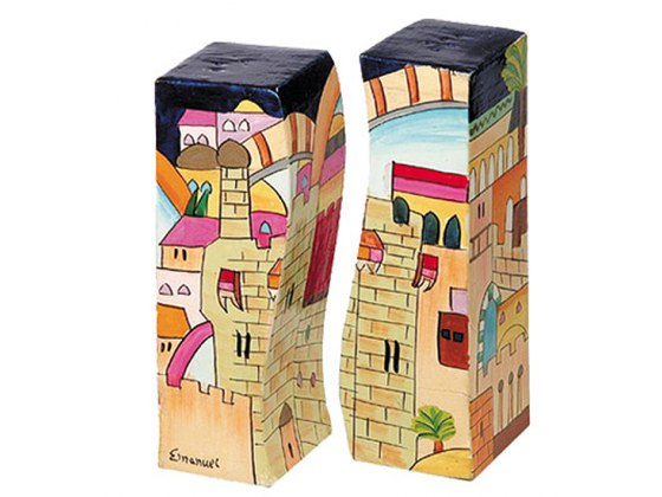 Yair Emanuel Painted Wood Salt & Pepper Shaker Set