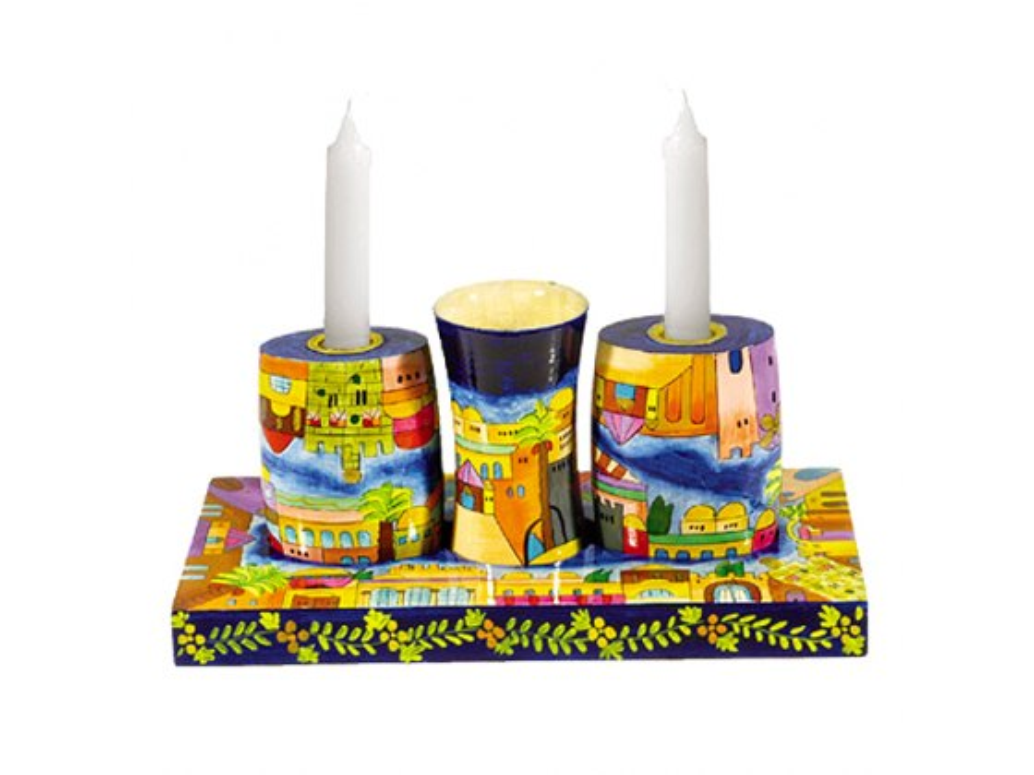 Yair Emanuel Painted Wood Shabbat-Havdala Set