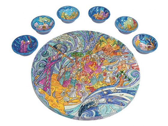 Yair Emanuel Painted Wood Passover Seder Plate with Matching Bowls - Exodus