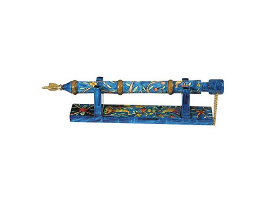 Yair Emanuel Painted Wood Yad (Torah Pointer) with Stand