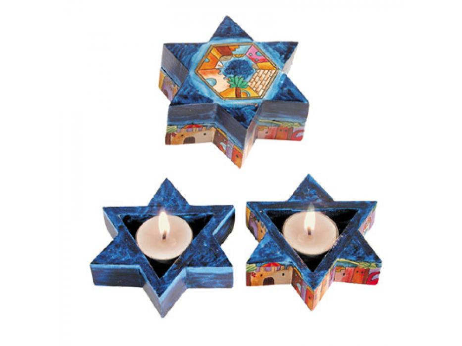 Yair Emanuel Star of David Wood Candlesticks Jerusalem