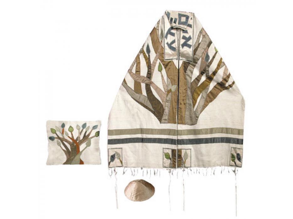 Yair Emanuel Tree of Life , Raw Silk Tallit Prayer Shawl