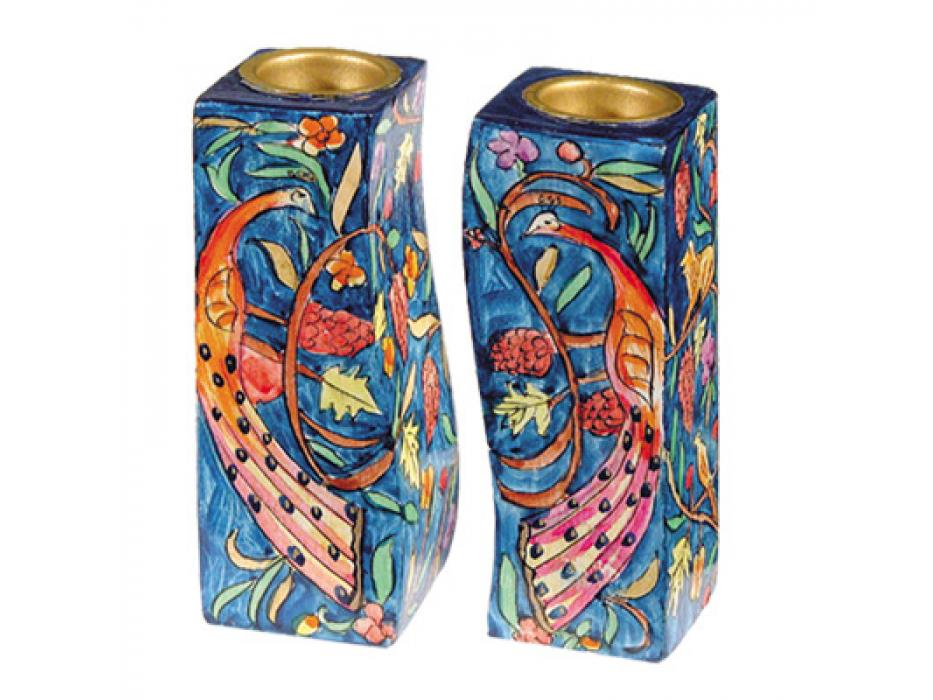 Yair Emanuel Wood Curved Candlesticks Peacock