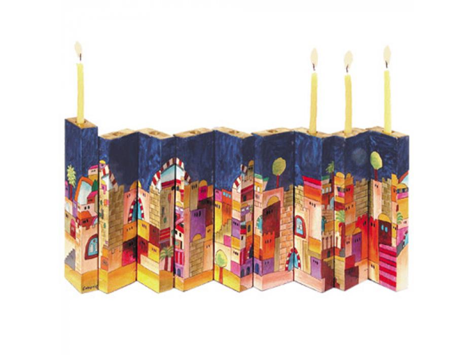 Jerusalem Wooden Accordion Hanukkah Menorah - open