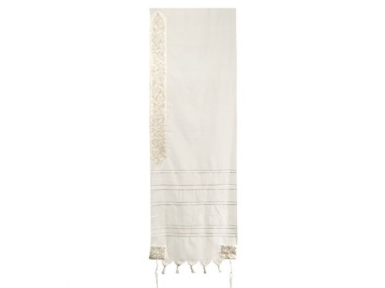 Yair Emanuel Wool with  Gold Stripes, Tallit  -pomegranate design