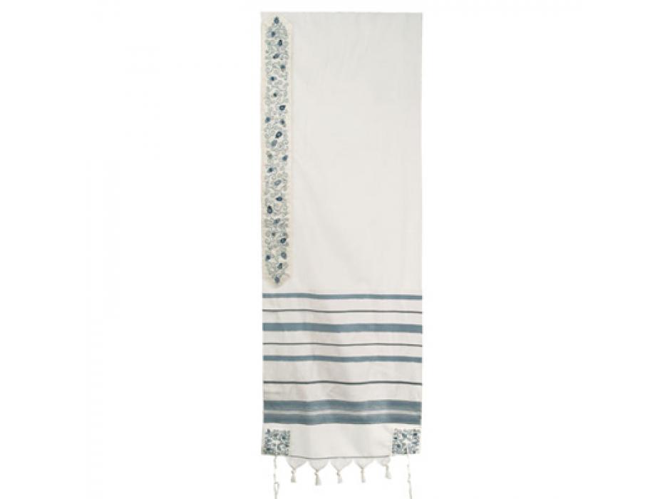 Wool with  Slate blue Stripes Tallit, Pomegranate Design