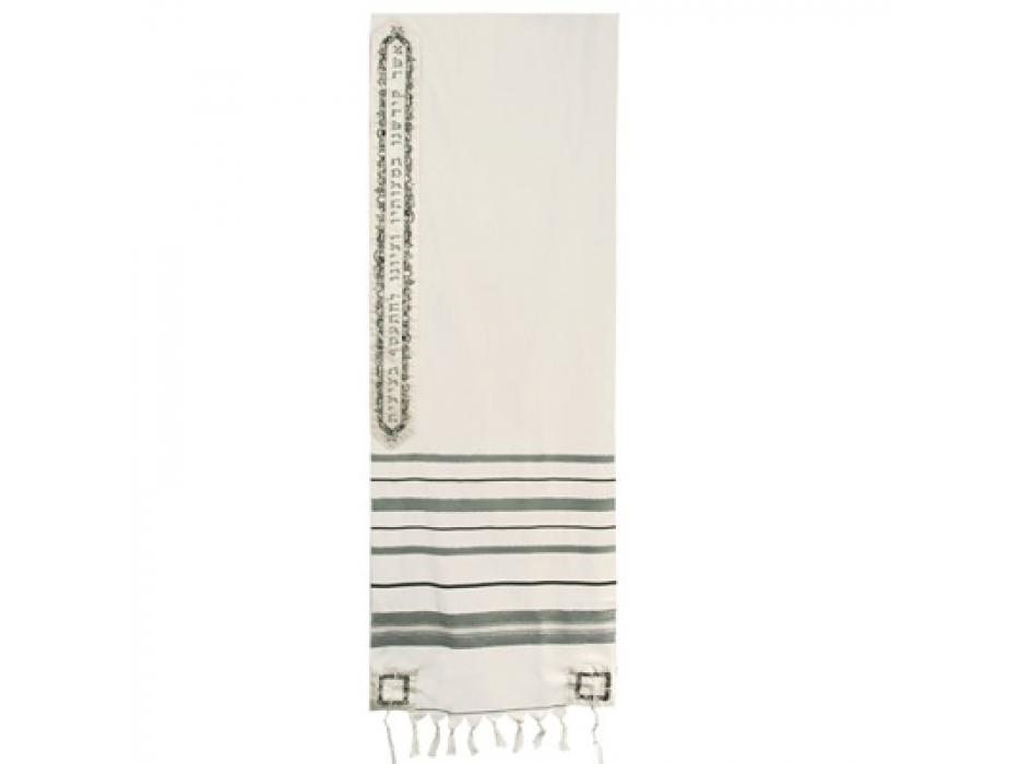 Wool with  Slate blue Stripes Tallit, Jerusalem Design