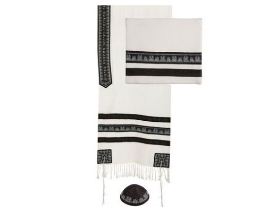 Yair Emmanuel Embroidered Black Stripes, Tallit Prayer Shawl