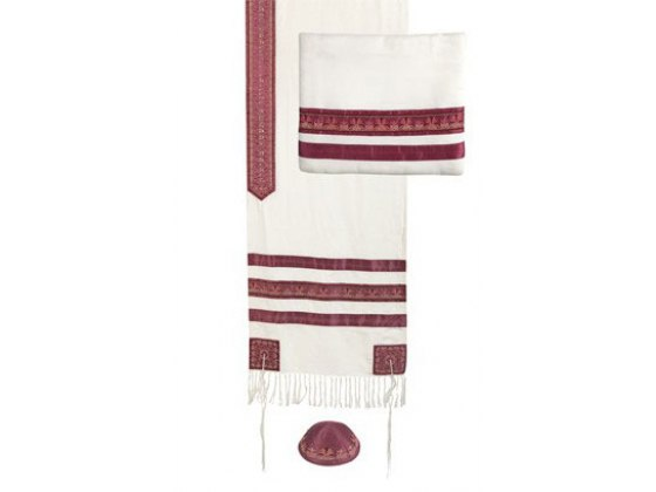 Yair Emmanuel Embroidered Maroon Stripes, Tallit Prayer Shawl