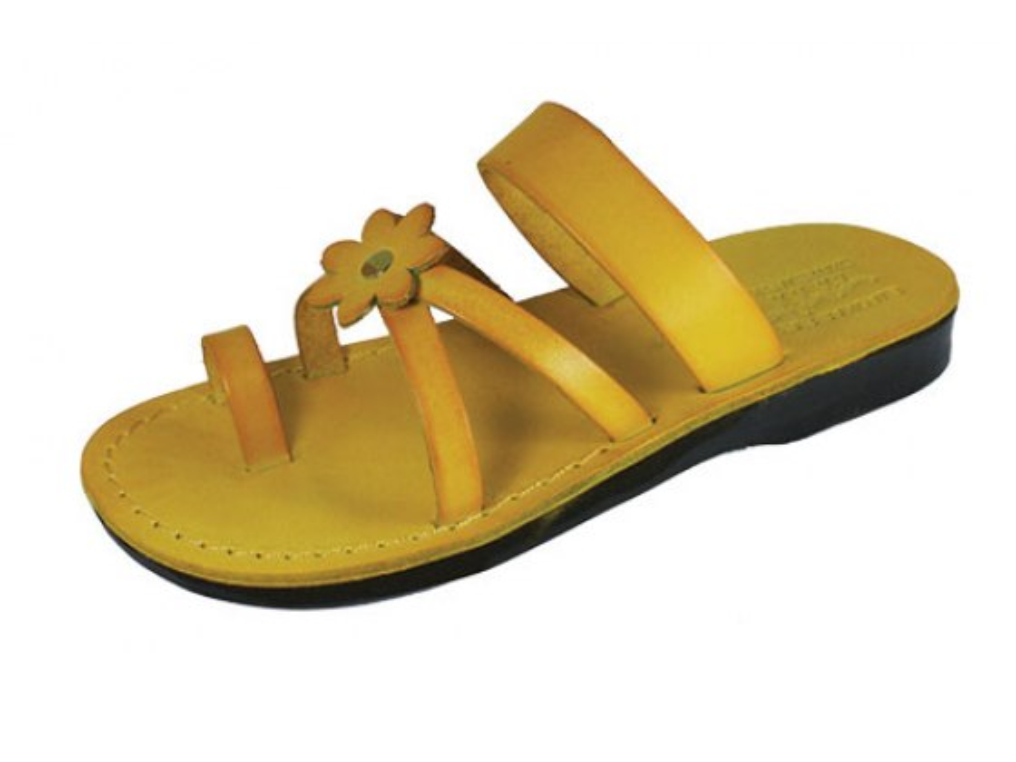 Yellow Flower Toe Strap Israeli Handmade Leather Sandals