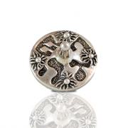 Silver Round Dreidel with Floral Ornament