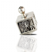 Sterling Silver Cubic Dreidel with Menorah
