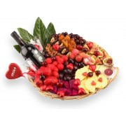 Extra Love Assorted Fruit Basket with Wine