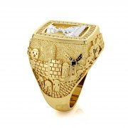 14K Gold and Diamonds Jerusalem Menorah Jewish Ring