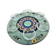 Lily Art Wood and Glass Seder Plate Dark Blue Mandala Design
