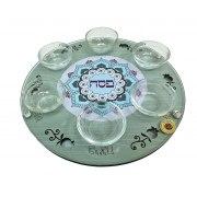 Lily Art Wood and Glass Seder Plate Green Mandala Design